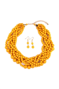S6-4-1-AHDN2162MU MUSTARD MULTI STRAND BUBBLE CHOKER NECKLACE AND EARRING SET/6SETS