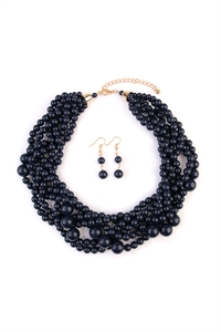 S5-6-5-AHDN2162NV NAVY MULTI STRAND BUBBLE CHOKER NECKLACE AND EARRING SET/6SETS