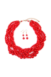 S6-4-1-AHDN2162RD RED MULTI STRAND BUBBLE CHOKER NECKLACE AND EARRING SET/6SETS