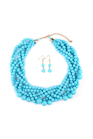 S6-4-1-AHDN2162TQ TURQUOISE MULTI STRAND BUBBLE CHOKER NECKLACE AND EARRING SET/6SETS