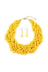 S6-5-4-AHDN2162YW YELLOW MULTI STRAND BUBBLE CHOKER NECKLACE AND EARRING SET/6SETS