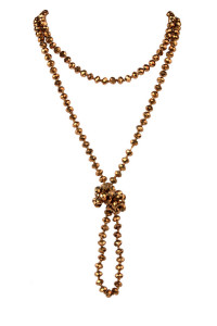 A3-1-1-HDN2209BZ BRONZE LONGLINE HAND KNOTTED NECKLACE/6PCS