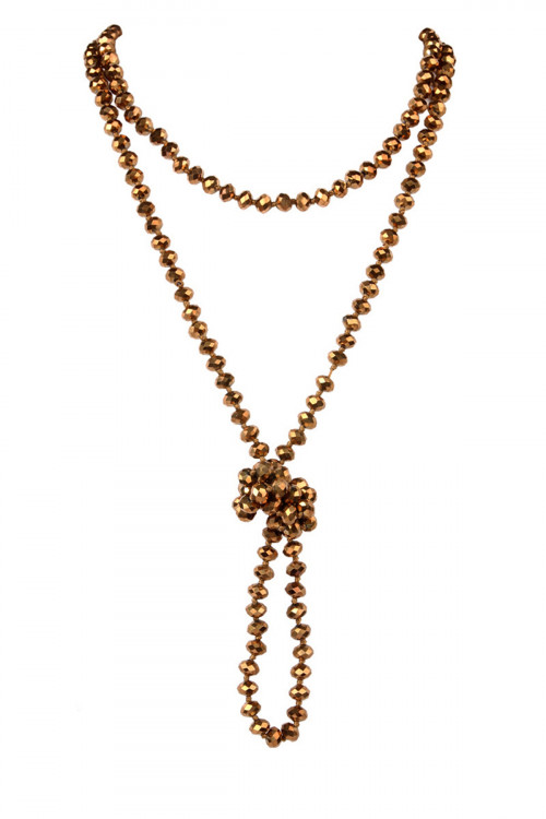 A3-1-1-AHDN2209BZ BRONZE LONGLINE HAND KNOTTED NECKLACE/6PCS