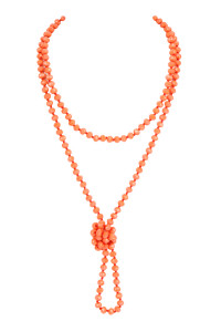 S7-6-3-AHDN2209CO CORAL LONGLINE HAND KNOTTED NECKLACE/6PCS
