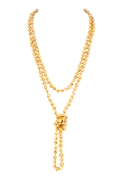 S19-6-2-HDN2209MU SPARKLY MUSTARD LONGLINE HAND KNOTTED NECKLACE/6PCS