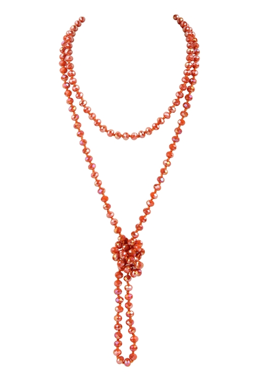 A3-2-1-AHDN2209OR ORANGE LONGLINE HAND KNOTTED NECKLACE/6PCS