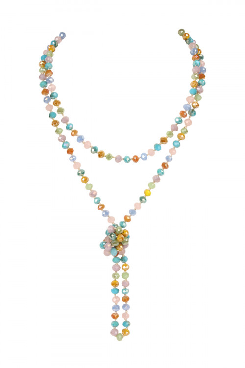 A3-2-1-AHDN2209PMT MULTICOLOR IRIDESCENT PASTEL LONGLINE HAND KNOTTED NECKLACE/6PCS