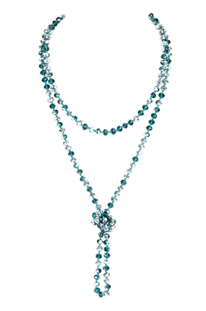 S4-6-2-AHDN2209TLS TEAL SILVER LONGLINE HAND KNOTTED NECKLACE/6PCS