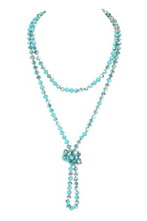 SA4-3-2-AHDN2209TQS TURQUOISE SILVER LONGLINE HAND KNOTTED NECKLACE/6PCS