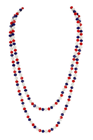S4-6-1-AHDN2209USA USA LONGLINE HAND KNOTTED NECKLACE/6PCS