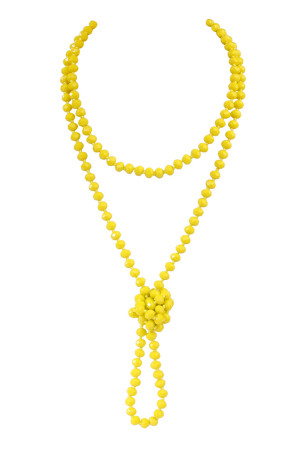 S7-4-3-AHDN2209YL YELLOW LONGLINE HAND KNOTTED NECKLACE/6PCS