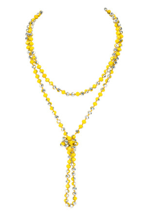SA4-3-1-AHDN2209YLS YELLOW SILVER LONGLINE HAND KNOTTED NECKLACE/6PCS