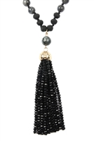 SA4-2-4-AHDN2237BK BLACK RONDELLE TASSEL PENDANT WITH POLYCORD NECKLACE/6PCS
