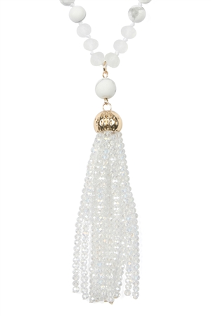 SA4-2-4-AHDN2237CRY WHITE RONDELLE TASSEL PENDANT WITH POLYCORD NECKLACE/6PCS