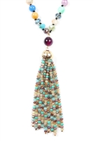 SA4-2-4-AHDN2237DMT MULTI COLOR RONDELLE TASSEL PENDANT WITH POLYCORD NECKLACE/6PCS