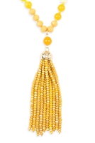 F-6-3-HDN2237DMU - RONDELLE TASSEL PENDANT WITH POLYCORD NECKLACE - DARK MUSTARD/6PCS