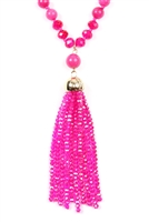 SA4-2-3-AHDN2237FU FUCHSIA RONDELLE TASSEL PENDANT WITH POLYCORD NECKLACE/6PCS