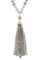 SA4-2-4-AHDN2237GY GRAY RONDELLE TASSEL PENDANT WITH POLYCORD NECKLACE/6PCS