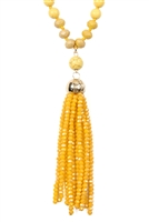 SA4-2-3-AHDN2237MU MUSTARD RONDELLE TASSEL PENDANT WITH POLYCORD NECKLACE/6PCS
