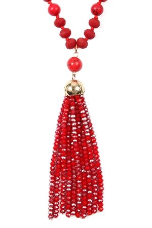SA4-2-3-AHDN2237RD RED RONDELLE TASSEL PENDANT WITH POLYCORD NECKLACE/6PCS