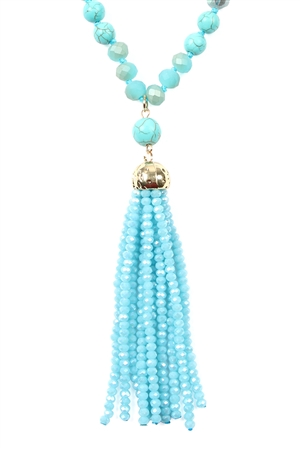 SA4-2-4-AHDN2237TQ TURQUOISE RONDELLE TASSEL PENDANT WITH POLYCORD NECKLACE/6PCS