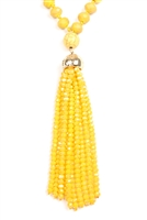S5-6-1-AHDN2237YW YELLOW RONDELLE TASSEL PENDANT WITH POLYCORD NECKLACE/6PCS