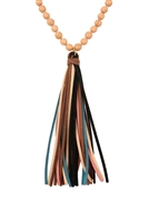 S4-6-2-AHDN2238BR BROWN COLORFUL NATURAL STONE AND GLASS BEADS WITH TASSEL NECKLACE/6PCS