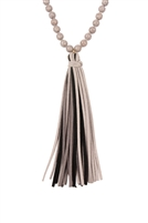 S4-6-2-AHDN2238GY GRAY  COLORFUL NATURAL STONE AND GLASS BEADS WITH TASSEL NECKLACE/6PCS