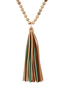 S19-5-3-HDN2238LCT-LIGHT BROWN COLORFUL NATURAL STONE AND GLASS BEADS WITH TASSEL NECKLACE/6PCS
