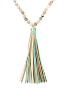 S19-5-3-HDN2238POM-AMAZONITE COLORFUL NATURAL STONE AND GLASS BEADS WITH TASSEL NECKLACE/6PCS
