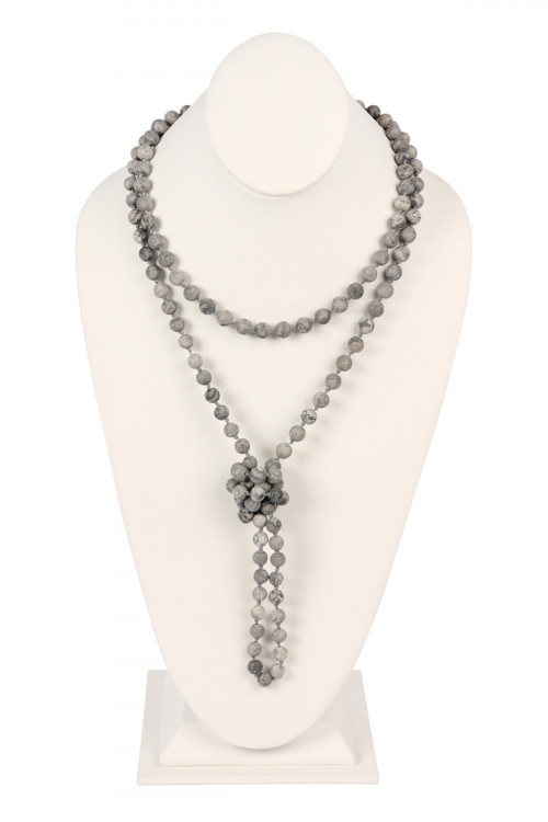 S5-6-5-AHDN2239BK BLACK NATURAL STONE HAND KNOTTED LONG NECKLACE/6PCS