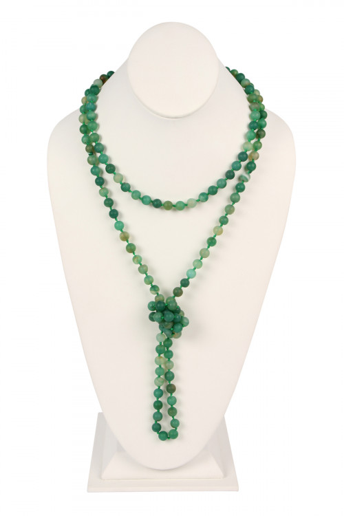 S4-4-3-AHDN2239EM EMERALD NATURAL STONE HAND KNOTTED LONG NECKLACE/6PCS