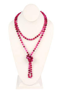 S19-4-3-AHDN2239FS FUCHSIA NATURAL STONE HAND KNOTTED LONG NECKLACE/6PCS