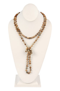 S19-4-2-AHDN2239LCT BROWN NATURAL STONE HAND KNOTTED LONG NECKLACE/6PCS