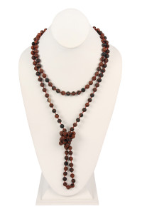 S19-5-2-AHDN2239MAG DARK BROWN NATURAL STONE HAND KNOTTED LONG NECKLACE/6PCS