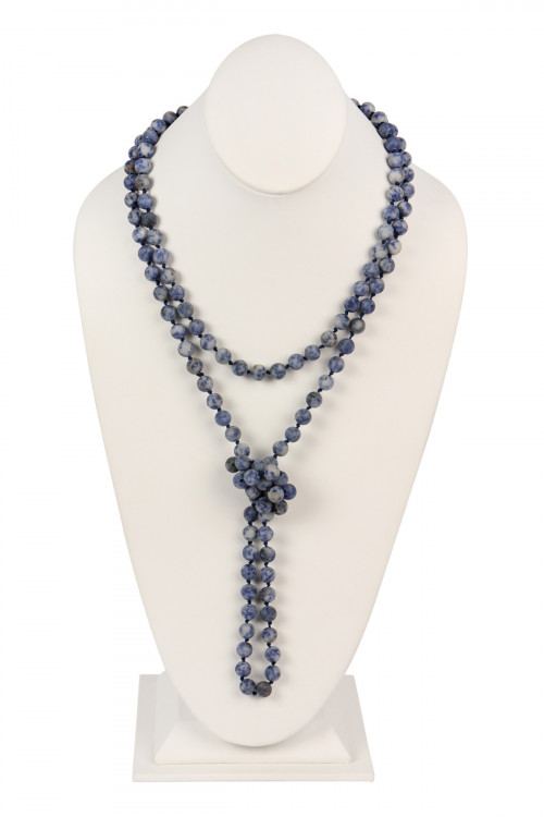 S6-4-2-AHDN2239MO BLUE NATURAL STONE HAND KNOTTED LONG NECKLACE/6PCS