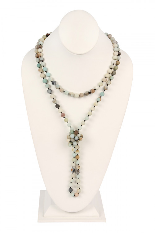 S6-4-2-AHDN2239POM MULTI COLOR NATURAL STONE HAND KNOTTED LONG NECKLACE/6PCS