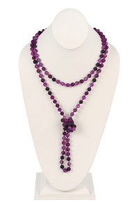 S19-5-2-AHDN2239PU PURPLE NATURAL STONE HAND KNOTTED LONG NECKLACE/6PCS
