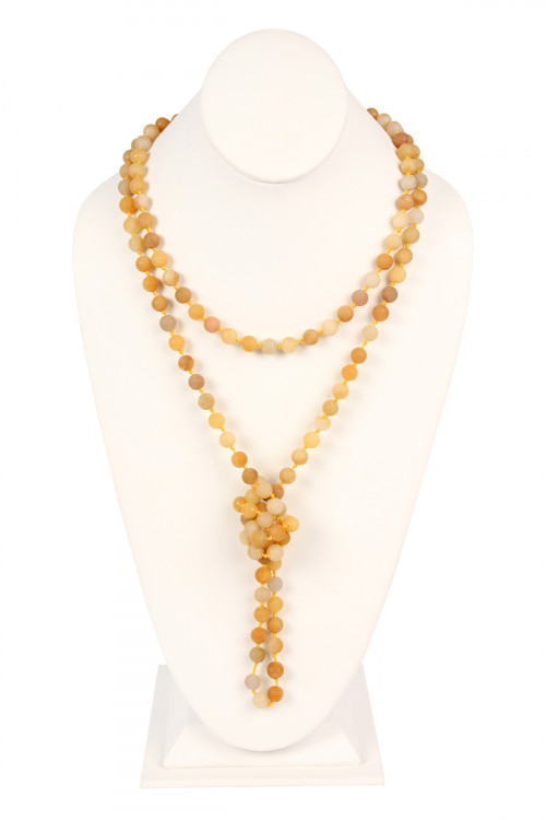 SA4-3-2-AHDN2239YW YELLOW NATURAL STONE HAND KNOTTED LONG NECKLACE/6PCS