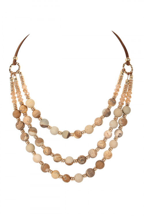 A3-2-1-AHDN2240LCT PICTURE JASPER THREE STRAND NATURAL STONE BEADS STATEMENT NECKLACE/6PCS
