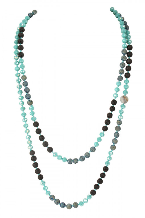 "A3-3-3-AHDN2242TQ TURQUOISE 60"" LAVA CRYSTAL NATURAL STONE NECKLACE/6PCS"