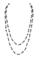 S18-8-1-AHDN2342GY DARK GRAY 60 INCHES GLASS COATED REAL PEARL NECKLACE/6PCS
