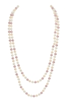 S18-8-1-AHDN2342LMT PINK 60 INCHES GLASS COATED REAL PEARL NECKLACE/6PCS