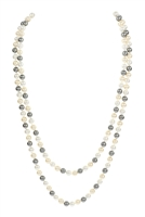S6-5-1-AHDN2342NMT HEMATITE 60 INCHES GLASS COATED REAL PEARL NECKLACE/6PCS