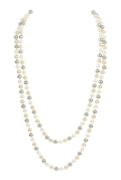 S5-6-1-AHDN2342PMT GRAY 60 INCHES GLASS COATED REAL PEARL NECKLACE/6PCS