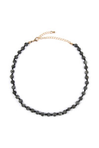 S5-6-4-AHDN2463JT BLACK 6mm NATURAL STONE BEADS NECKLACE/6PCS