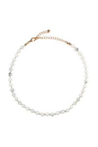 S5-6-4-AHDN2463WH WHITE 6mm NATURAL STONE BEADS NECKLACE/6PCS