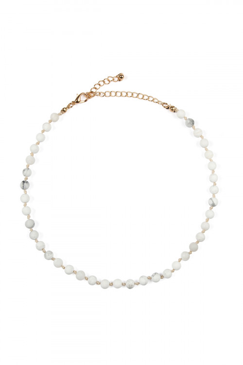 A7-4-3-AHDN2463WH WHITE 6mm NATURAL STONE BEADS NECKLACE/6PCS