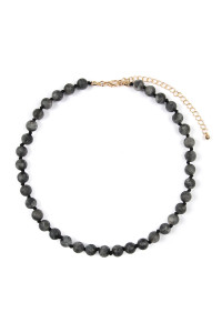 S4-6-2-AHDN2464JT BLACK 8mm NATURAL STONE NECKLACE/6PCS