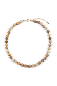 S5-6-4-AHDN2464LCT JASPER BROWN 8mm NATURAL STONE NECKLACE/6PCS